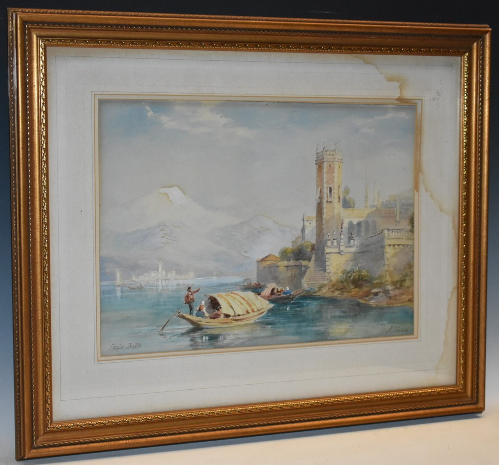 Andrea Vasari (1873 - 1961) Isola Bella signed and inscribed, watercolour, 37cm x 51cm; another,