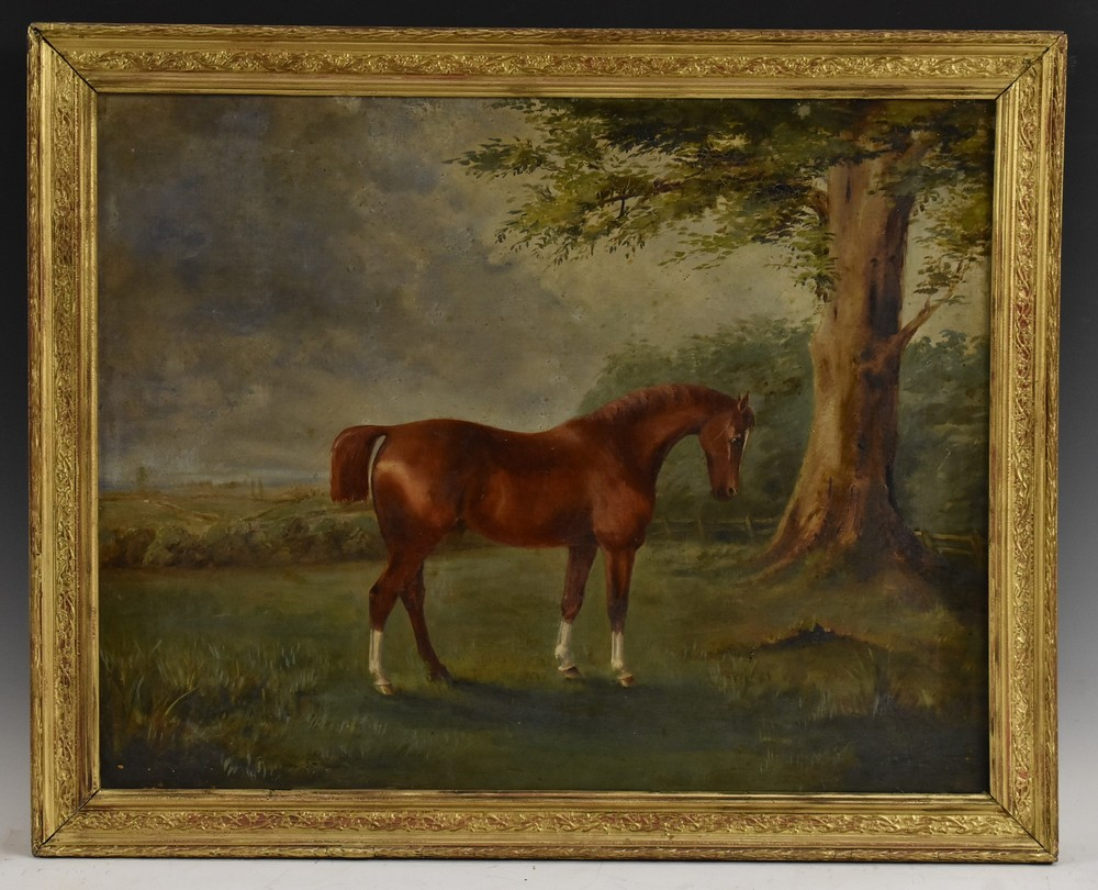Lot 3003 - English School (19th century) Portrait of a Horse inscribed to verso William Eden's Horse,