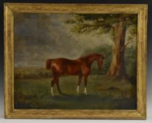 English School (19th century) Portrait of a Horse inscribed to verso William Eden's Horse,