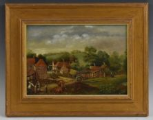 G A Stubbs (English Primitive School, 19th century) Farmyard with Cattle signed,