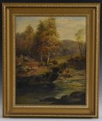 Edward Davies (1841 - 1920) A Perfect Spot for Fishing signed, oil on canvas, 53cm x 42.