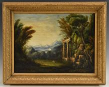 English School (19th century) Picturesque Landscape with Ruins oil on canvas, 29cm x 39.