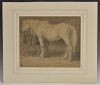 English School, 19th century, A Mare and her Foal, pencil, impressed monogram to bottom right,