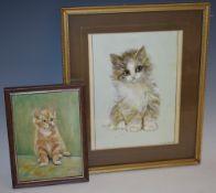 G. Harding Kitten signed, oil on board, 17cm x 12cm; another, J.