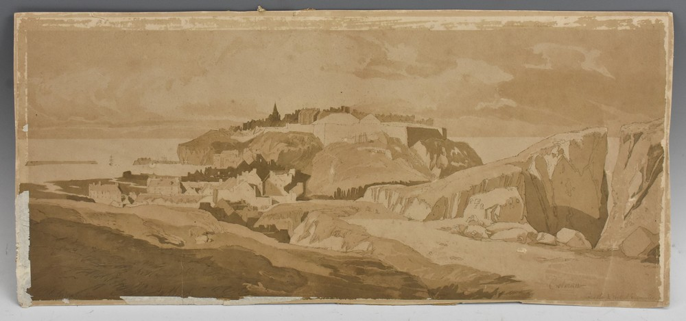 An Interesting folio of 19th century Grisaille watercolour paintings, - Image 3 of 5