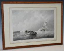 Frans Arnold Breuhaus de Groot (1824 - 1872) Dutch Sailing Vessel Approaching Harbour signed,