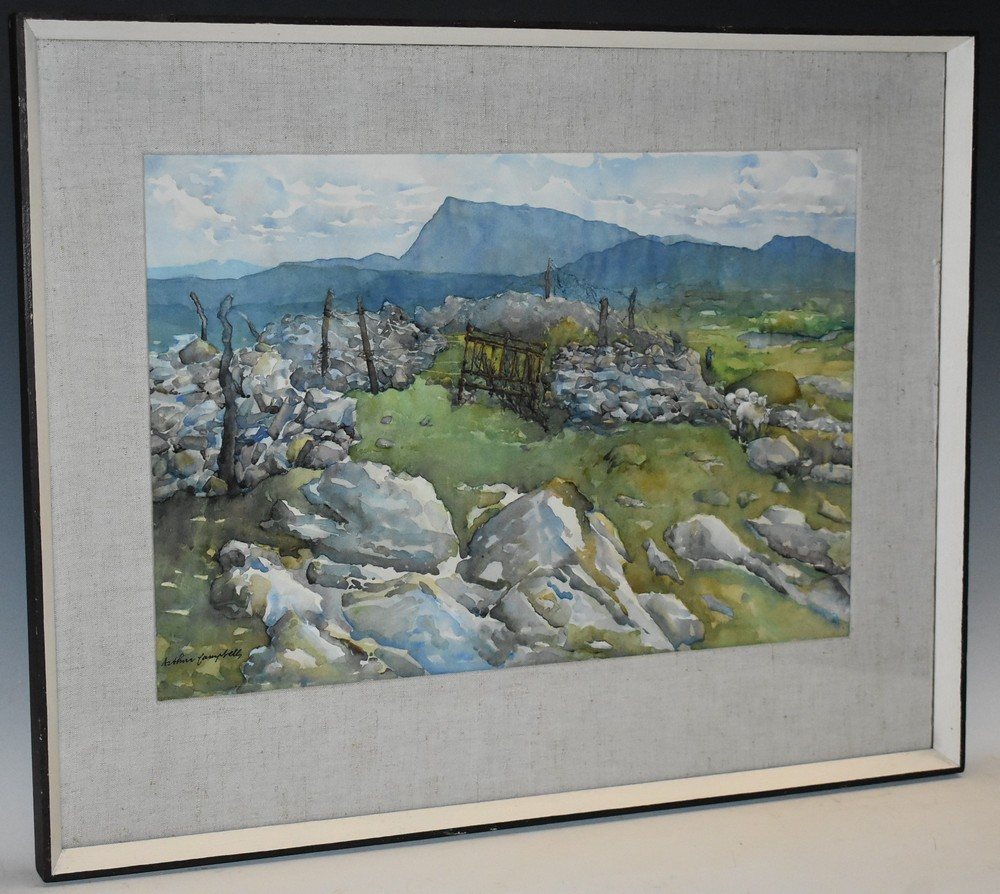 Lot 3018 - Arthur Campbell (1909-1994) Sheep Fold, Portnablagh, southern Ireland signed, watercolour,