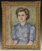 English School Society Portrait of a Young Lady indistinctly signed and dated 1945, pastel,