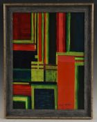Brett Oldham (Modern British School) Art Concrete, Red, Yellow, Green, signed, oil on board,