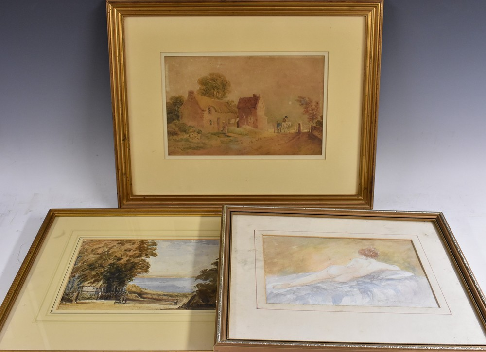 Lot 3055 - David P Colbourne Reclining Female Nude signed, watercolour,