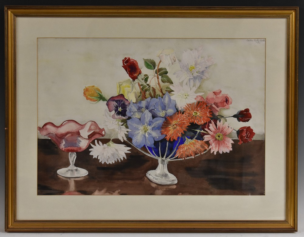 Barbara Shirley Walton Floral Arrangement in a Blue and White Vase signed, watercolour, 55cm x 77cm, - Image 4 of 4