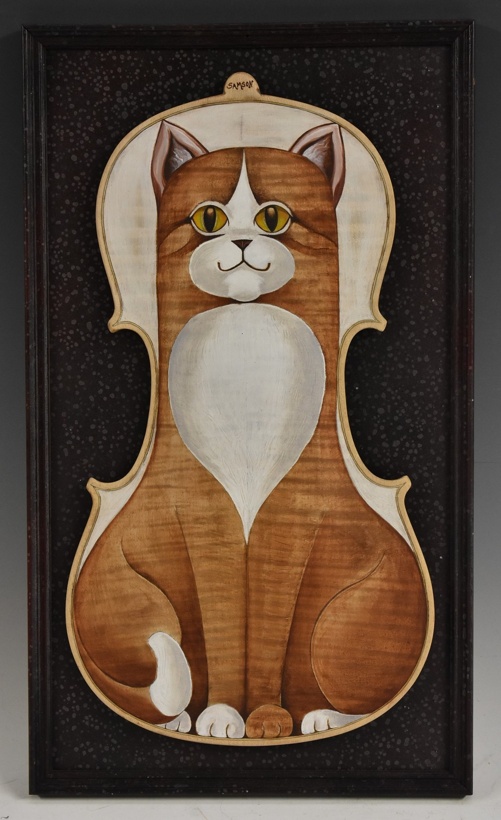 Austin Samson (British School) Tabby Cat on a Fiddle Back signed, oil on a violin back, 37cm x 20.