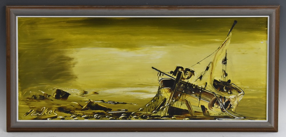 Lot 3029 - Bill Hawkes (20th century) Moored Boat signed, oil on hardboard, 29.
