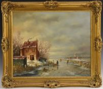 G. J. A. van Reede (1929 - 1998) A Winter's Day on the River signed, oil on canvas, 50.