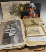 An interesting folio of drawings and watercolours, various subjects, still life, animals,