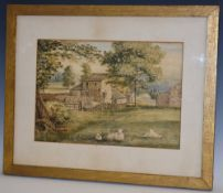 D. Brownsworth A Peak District Farm with Sheep Resting signed, watercolour, 24.