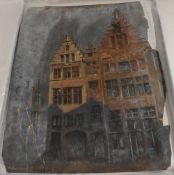 Dutch School, 19th century, Dutch Town Scenes, a pair, indistinctly signed, dated 1851,