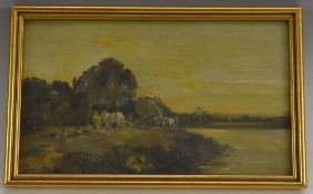 English School, early 20th century, Farm Workers by the riverside at Dusk, oil on board, 14.