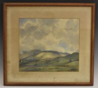 English School, mid 20th century, Sunlight over the Distant Fells, indistinctly signed, watercolour,