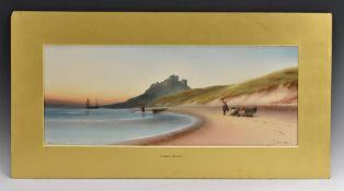 Garman Morris (British, early 20th century) Bamburgh Castle, signed, titled, watercolour, 28cm x 69.