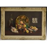 Deborah Jones (1921 - 2012) Still Life, Ripe Fruit, Wine Bottle and Glass, and Brass Dish signed,