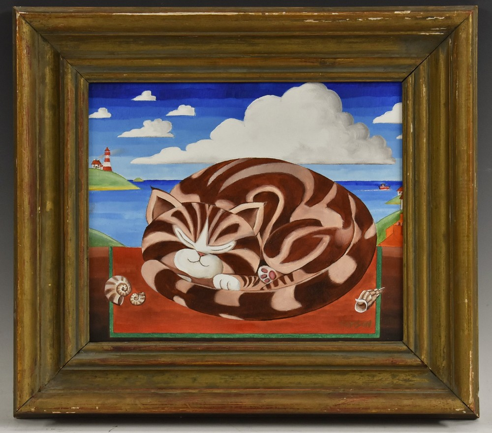 Lot 3021 - Austin Samson (British School) Tabbitha's Favourite Sleeping Place signed, oil on board,