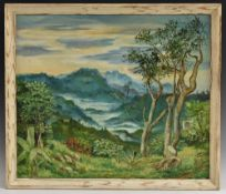 Eric Smith Mist in the Valley, Jamaica, signed, gallery label to verso, oil on canvas, 56.