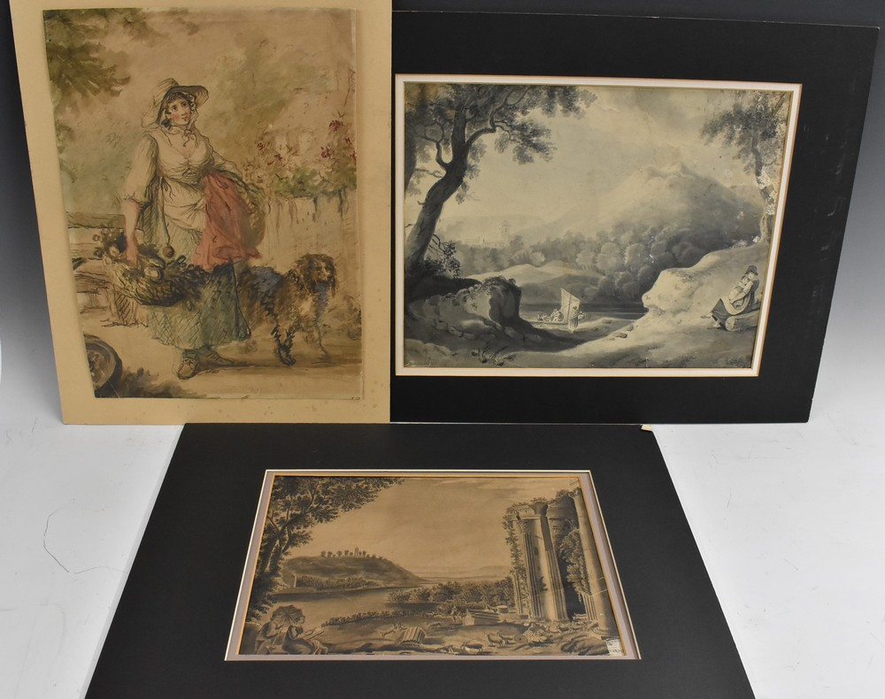 Lot 3000 - An Interesting folio of 19th century Grisaille watercolour paintings,
