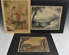 An Interesting folio of 19th century Grisaille watercolour paintings,