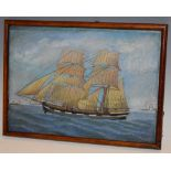After Alfred Wallace Clipper Ship oil on paper, 18.