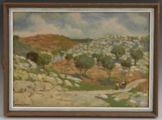Continental School, 20th century, The Holy Land, Near Mount Sinai, signed Maggis, oil on board,