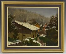 Go** (Eastern European School 20th century) Snowy Landscape indistinctly signed, oil on board,