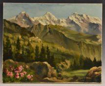 Edward S Billin (1911-195) Alpine Pass signed, oil on canvas,