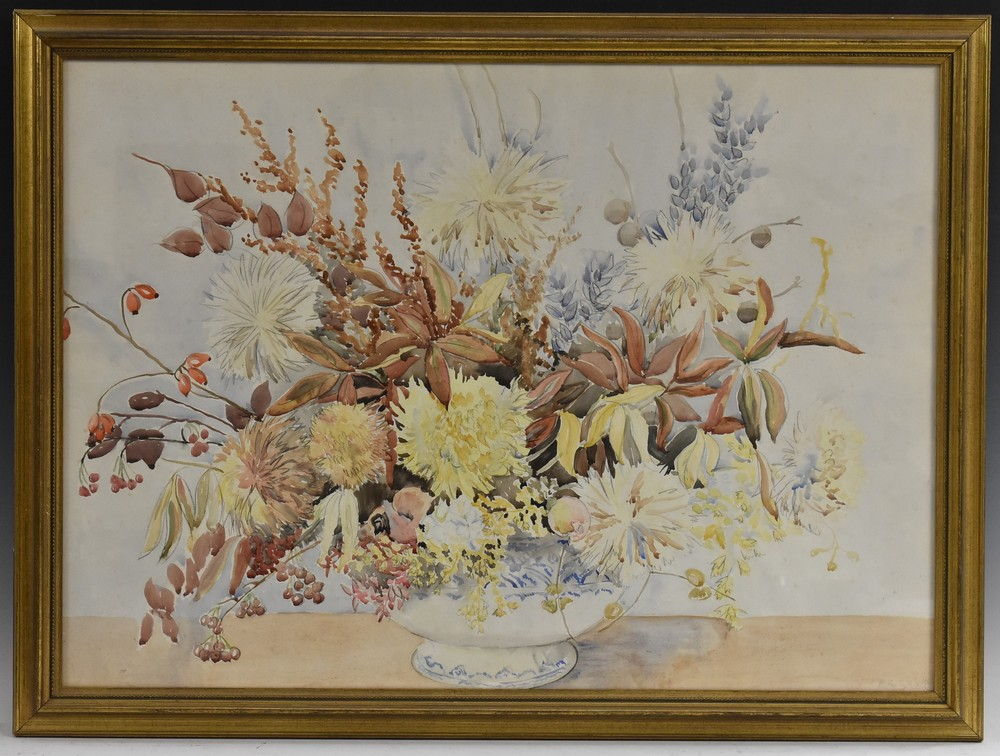 Barbara Shirley Walton Floral Arrangement in a Blue and White Vase signed, watercolour, 55cm x 77cm,