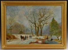 English School (20th century) A Mid Winter's Day oil on canvas, 60.5cm x 83.