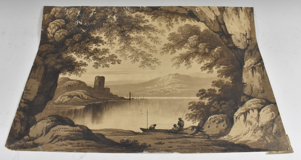 An Interesting folio of 19th century Grisaille watercolour paintings, - Image 2 of 5