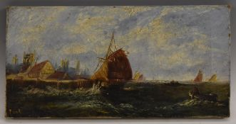 19th century English School, Barges on a Rough Sea, indistinctly signed, oil on canvas, 18cm x 35.