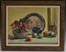 E. H. Richardson Apples and Anemones signed, oil on board, 44cm x 59.