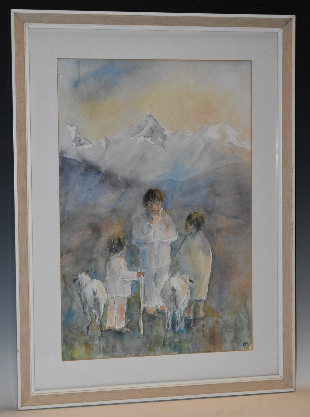 Bim Giardelli (British, 1917 - 2011) Nepalese Shepherd Boys signed, watercolour, 55cm x 36.