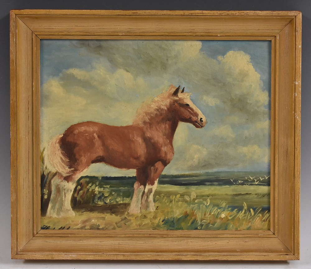 Lot 3015 - English School (20th century) Shire Horse in a Landscape indistinctly signed, oil on board,