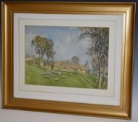 George F. Nicholls Farmhouse with Sheep signed, watercolour, 25.
