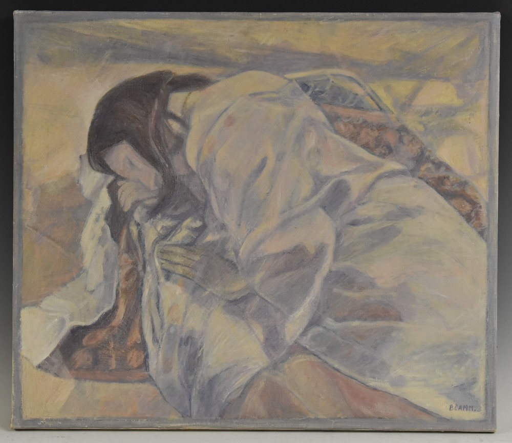 Beatrice Camm (20th century) Sleeping Maiden, in pastel tones, signed, oil on canvas, 47.
