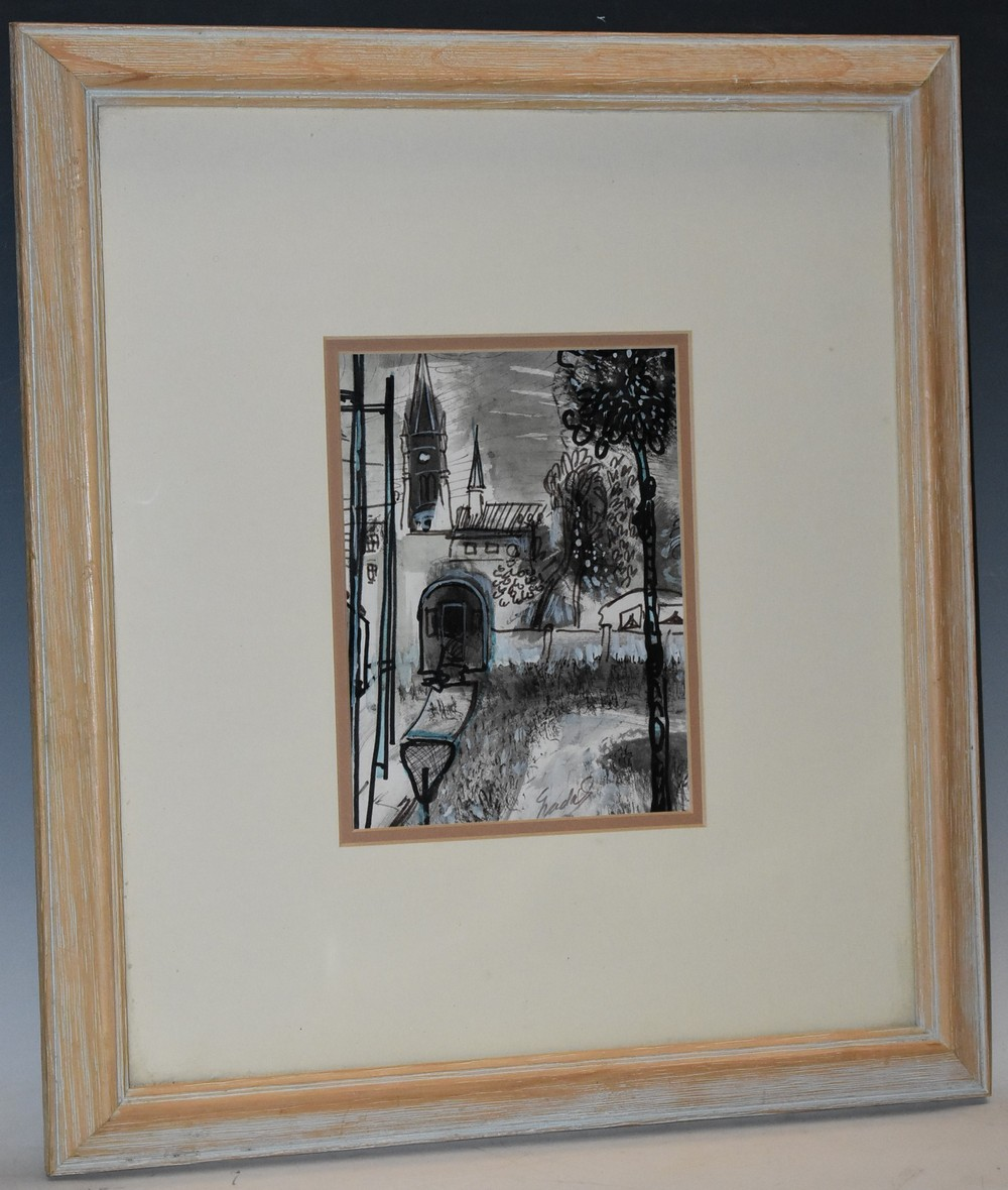 Lot 3036 - Carlos Nadal (Spanish, 1917 - 1998) Eglise de Villiers signed lower right, signed, titled,