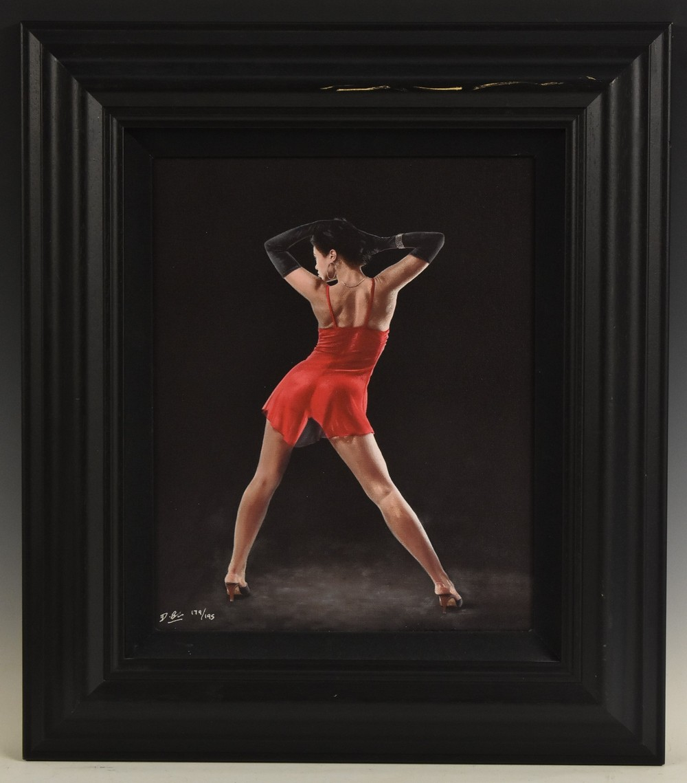 Darren Baker, by and after, A Pair, Femme Fatale I and II, print on canvas, signed, - Image 2 of 2