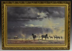 David Shepherd, after, Storm Over Amboseli, signed paper label to verso, titled, lithographic print,
