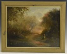 English School (19th century ) Figure by a Path initialled MM, oil on canvas, 34.