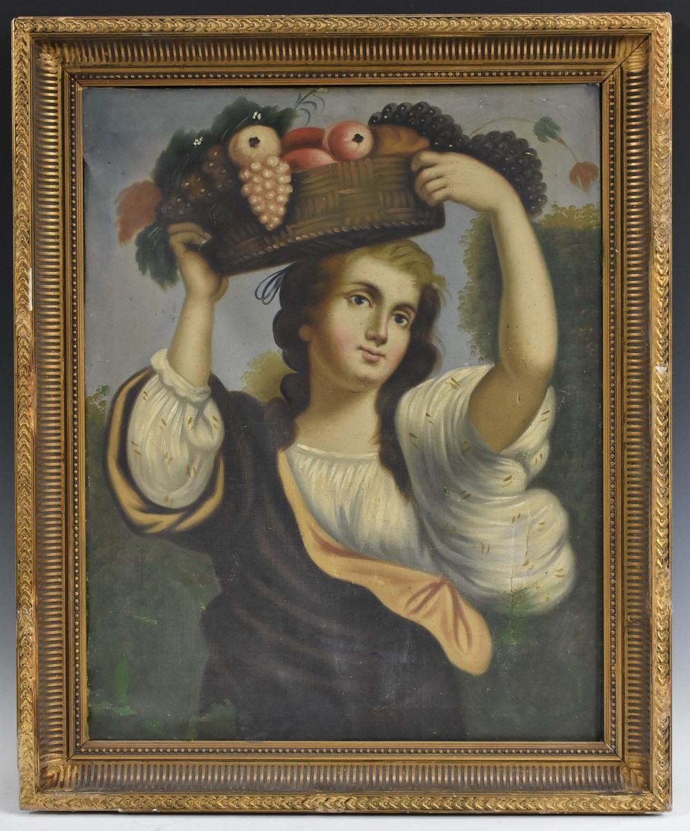 Lot 3043 - Continental School (19th century) Girl with a Basket of Fruit, After the Old Master oil on canvas,