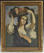 Continental School (19th century) Girl with a Basket of Fruit, After the Old Master oil on canvas,