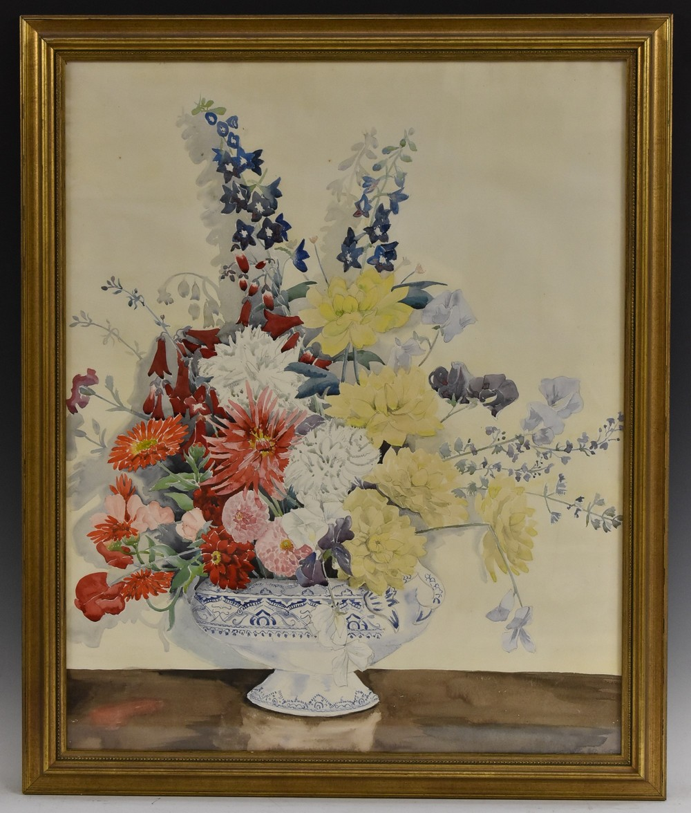 Barbara Shirley Walton Floral Arrangement in a Blue and White Vase signed, watercolour, 55cm x 77cm, - Image 3 of 4