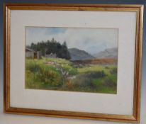 English School Geese and Chickens in a Landscape signed with monogram C. A. A., oil on board, 17.